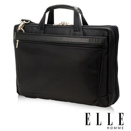 ELLE HOMME 紳士皮革公事包IPAD/14吋筆電置物層 側背手提兩用-黑大EL74165A-02