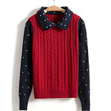 《韓國K.W.》風格出眾.拼接點點針織衫