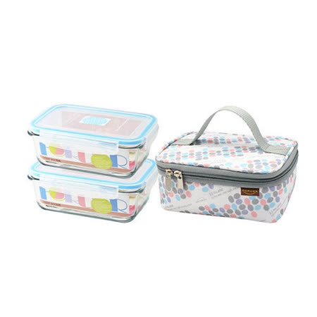 FOR U 點馨玻璃保鮮盒提袋組 FU-H800MY