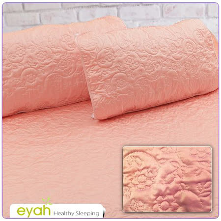 【EYAH宜雅】絲緞面立體花紋100%防水枕頭保潔墊(2入)-苺橘紅