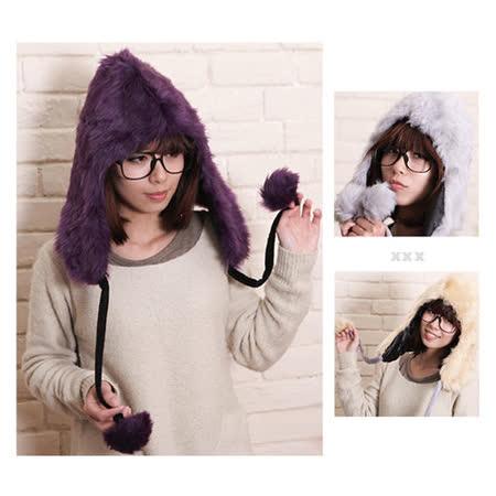 日韓毛毛三角造型帽