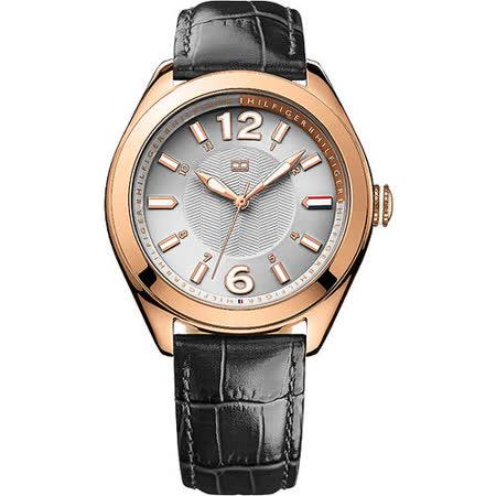 TOMMY HILFIGER 都會雅緻時尚國際腕錶-銀x玫塊金/黑 M1781365