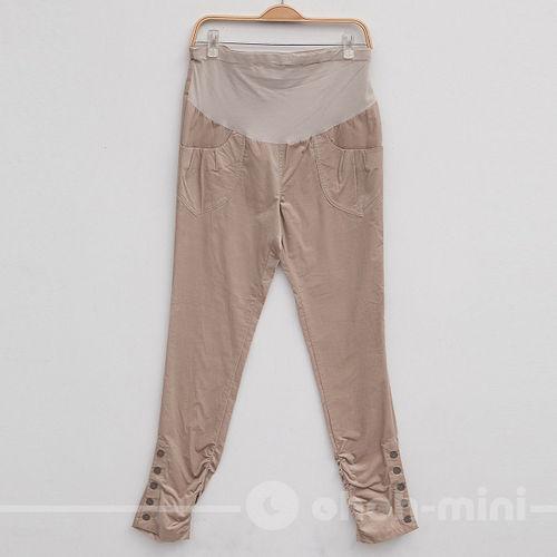 【ohoh-mini孕婦裝】顯瘦纖長排釦短绒孕婦長褲