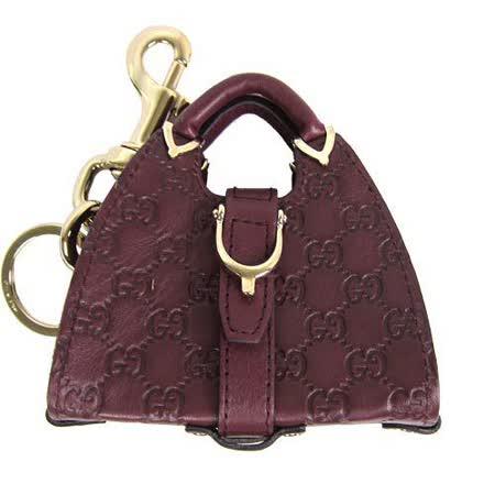 GUCCI 牛皮壓紋賈姬包吊飾鑰匙圈(巧克力)