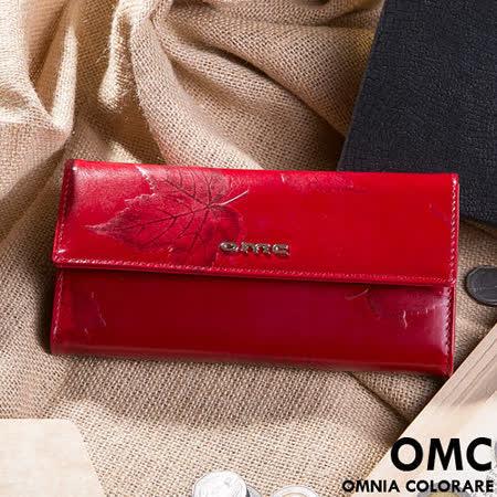 OMC - 韓國專櫃品牌立體楓葉真皮款兩折式長夾-共2色