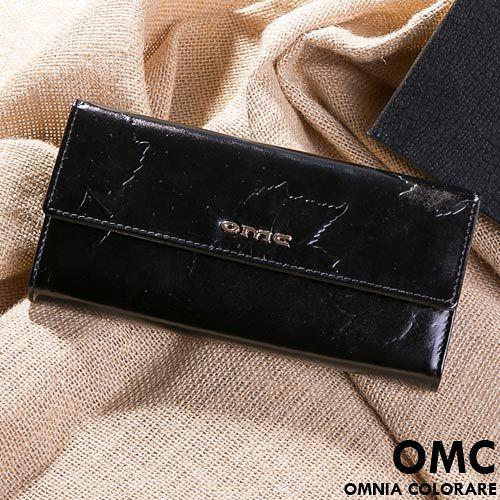 OMC - 韓國專櫃品牌立體楓葉真皮款兩折式多收納長夾-共2色