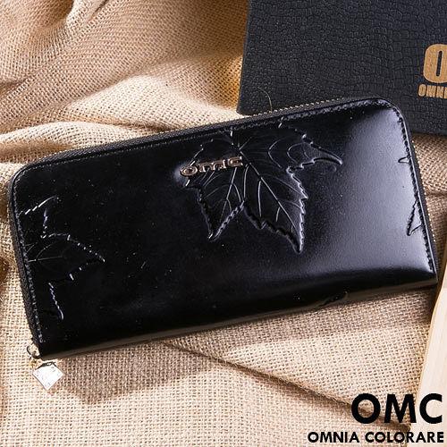 OMC - 韓國專櫃品牌立體楓葉真皮款單拉鍊長夾-共2色