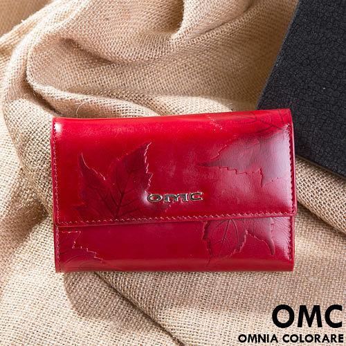 OMC - 韓國專櫃品牌立體楓葉真皮款三折式中夾-共2色