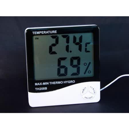 超大字幕溫濕度計/具有溫度(室內+室外)/溼度.功能/延長線感溫棒設計