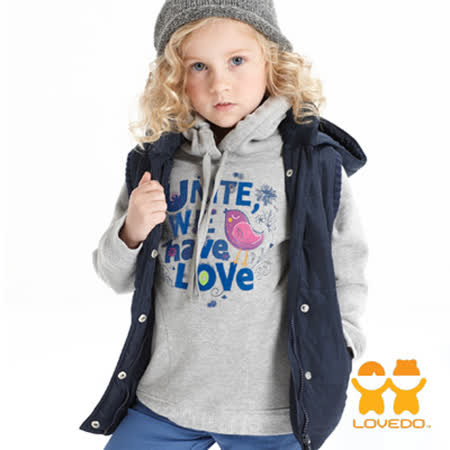 【LOVEDO-艾唯多童裝】鳥兒塗鴉 長袖內刷毛連帽T恤