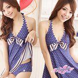 【天使霓裳】糖芯派對 兩件式連身裙泳裝 泳衣(藍)