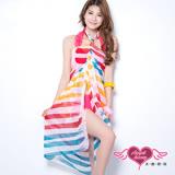 【天使霓裳】度假風情 多種穿法外搭紗裙(彩色條紋)
