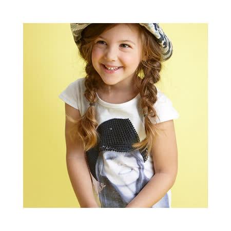 【LOVEDO-艾唯多童裝】個性休閒 紳士帽女孩短袖T恤