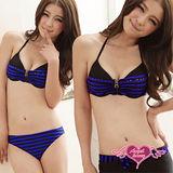 【天使霓裳】輕夏落日 三件式鋼圈比基尼泳衣(藍紫)