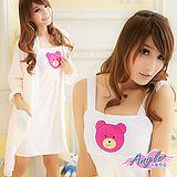 【居家館-天使霓裳】英倫寶貝熊壓印 兩件式睡衣組(粉桔色)