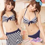 【天使霓裳】夏日好感女孩 三件式鋼圈比基尼泳裝(藍)
