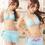 【天使霓裳】亮麗出色 兩件式比基尼泳裝(藍)