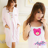 【居家館-天使霓裳】英倫寶貝熊壓印 兩件式睡衣組(粉色)