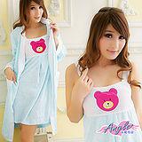【居家館-天使霓裳】英倫寶貝熊壓印 兩件式睡衣組(藍色)