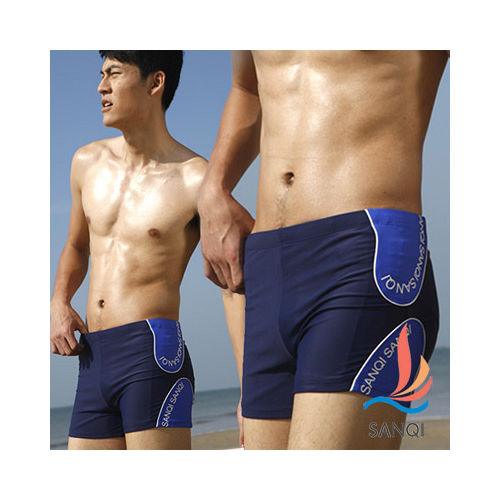 [SANQI三奇]S嘉義 遠東HOCK男孩 海洋調調平口四角泳褲(藍)