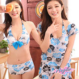 【天使霓裳】花漾夏日扶桑花 三件式鋼圈比基尼泳衣(淺藍)