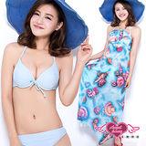 【天使霓裳】海洋系女孩 三件式鋼圈比基尼泳裝(藍)
