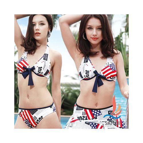 【泳裝精品館-SANQI三奇】俏麗美系愛 買 廣告風 三件式鋼圈比基尼泳裝 泳衣(白)