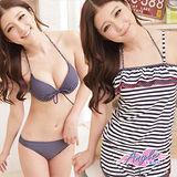 【天使霓裳】輕夏風格 三件式鋼圈比基尼泳衣(深藍)