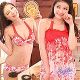 【天使霓裳】極夏樂園 三件式鋼圈比基尼泳裝(紅)