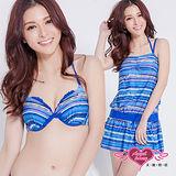 【天使霓裳】抽象意景 三件式鋼圈比基尼泳裝 (藍)