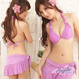 【天使霓裳】亮麗出色 兩件式比基尼泳裝(紫)
