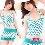 【天使霓裳】太陽的愛戀 兩件式泳裝 比基尼泳衣(白綠)