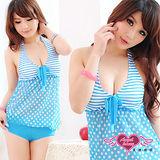 【天使霓裳】夏日心機 一件式連身泳裝 比基尼泳衣(淺藍)