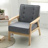 【日安家居】Muffin濃情瑪芬原木扶手椅/單人布沙發(共3色)