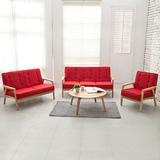 【日安家居】Muffin濃情瑪芬原木扶手椅/1+2+3布沙發組(共3色)