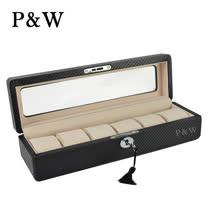 【P&W名錶收藏盒】【玻璃鏡面】碳纖維紋 手工精品 6只裝錶盒