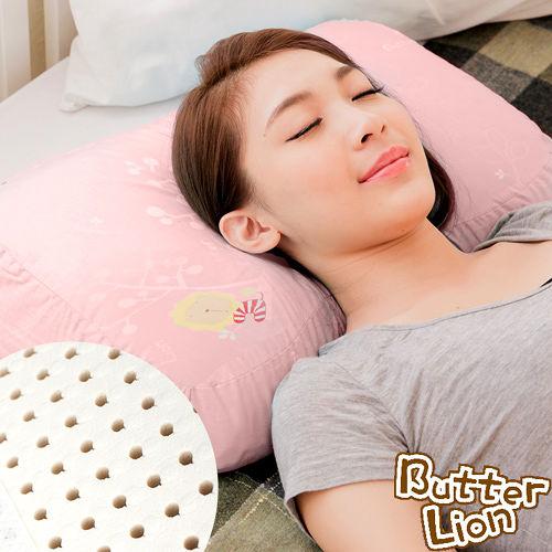 ~奶油獅~馬來西亞 純天然蝶型乳膠枕~附精梳純棉布^(兒童、女性 ^)粉紅