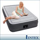 【INTEX】豪華型橫條內建電動幫浦充氣床-單人加大-寬99cm