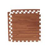 【新生活家】EVA耐磨拼花木紋地墊-深色45x45x1.2cm12入(附邊條)