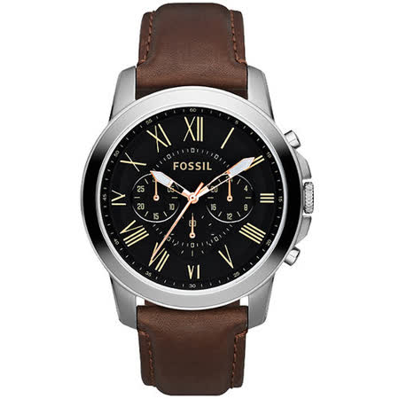 FOSSIL Grant 旗艦三眼計時復刻腕錶-黑/咖啡 FS4813