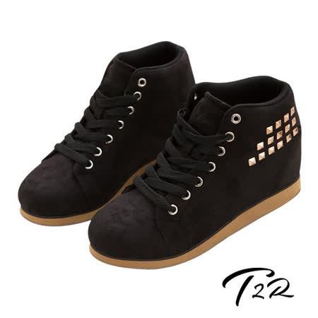 【韓國T2R】鉚釘時尚內增高短筒靴 黑 ↑8cm 5600-0104