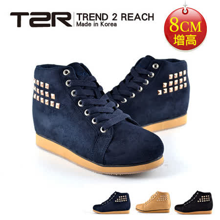 【韓國T2R】鉚釘時尚內增高短筒靴 深藍 ↑8cm 5600-0106