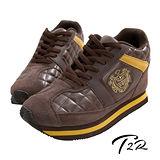 【韓國T2R】旗艦款皇家菱紋10公分增高休閒鞋 咖啡色 5600-0072