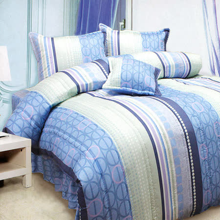 《KOSNEY 藍調魅情 》加大100%活性精梳棉六件式床罩組台灣製