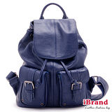 iBrand真皮-俐落時尚牛皮翻蓋口袋後背包(深靛藍)