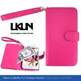 【LKUN】Samsung Note3 高級牛皮保護皮套 (玫紅)