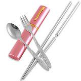 不鏽鋼隨身餐具組 (筷子+叉子+湯匙)