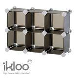 N 整理收納 IKLOO迷你桌上型組合櫃六格-黑 HP60-B 桌上型收納組合櫃-9873