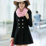 【公主衣櫃 中大尺碼】5107雙排釦毛呢連衣裙(黑色)