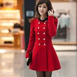 【公主衣櫃 中大尺碼】5107雙排釦毛呢連衣裙(紅色)